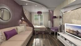Перегородка из гипсокартона в интерьере гостиной-спальни