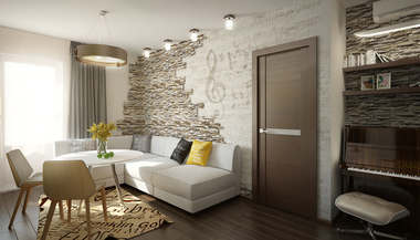 Проект интерьера двухкомнатной квартиры 72 кв.м., Мытищи