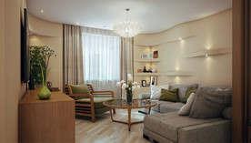 Интерьер маленькой гостиной со светильниками