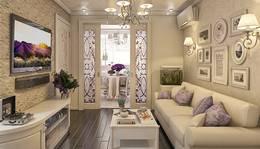 Двери-перегородки с витражными вставками в интерьере гостиной, ЖК Альбатрос