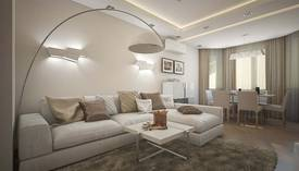 Бежевый цвет в интерьере гостиной, Планерная - 1
