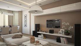 Бежевый цвет в интерьере гостиной, Планерная - 2