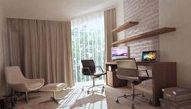 Бежевый цвет в интерьере кабинет, Жаворонки - 2