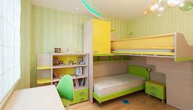 Фото салатового интерьера в детской проекте квартиры, Отрадное
