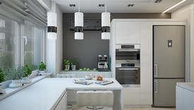 Серый цвет в интерьере кухни квартиры П-3М - 2