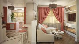 Оранжевый цвет в интерьере гостиной, квартира в Королёве