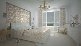 Белые обои в интерьере спальни квартиры, м. Профсозная