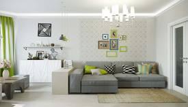 Зеленый цвет в интерьере гостиной квартиры серии П-3М