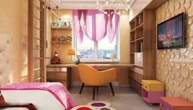 Интерьер с полками в детской комнате, Бутово Парк