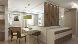 Перегородка-стеллаж из дерева в интерьере квартиры в Мытищах