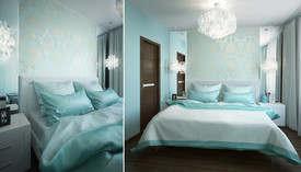 Голубые обои в интерьере спальни, квартира в Балашихе
