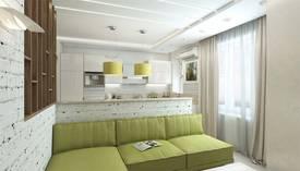 Оливковый цвет в интерьере гостиной, Мытищи - 1