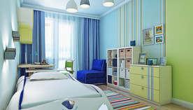 Обои в полоску в интерьере гостиной в современном стиле, Подольск