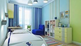 Голубой цвет в интерьере детской в квартире серии П-3М