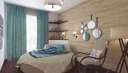 Деревянная стена в интерьере спальни, Коммунарка