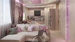 Интерьер гостиной совмещенной с кухней, Котельники