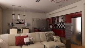 Гостиная в таунхаусе в стиле арт-деко