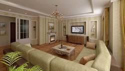люстра и камин в интерьере гостиной в классическом стиле