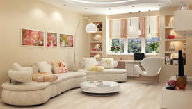 Оранжевый цвет в интерьере гостиной квартиры серии П-46