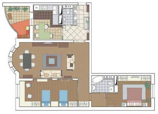 Дизайн 3-х комнатной квартиры серии И-155