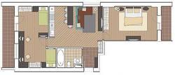 Перепланировка трехкомнатной квартиры И-209А