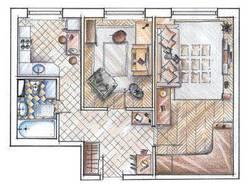 Планировка двухкомнатной квартиры II-49