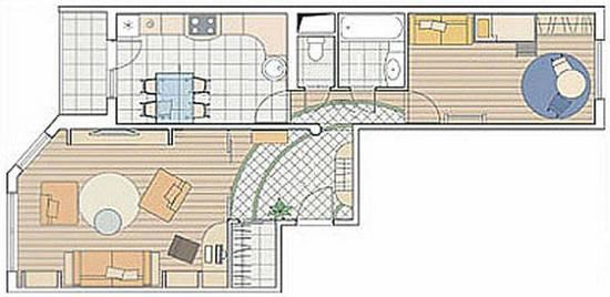 дизайн 2 х комнатной квартиры серии ИП 46С