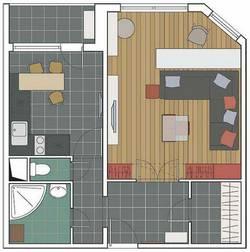 Дизайн 1 комнатной квартиры серии ИП-46С