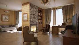 Дизайн интерьера кабинета с камином