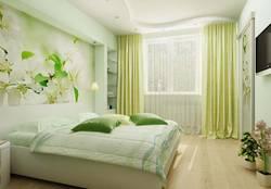 дизайн спальни с фотообоями с растительным рисунком