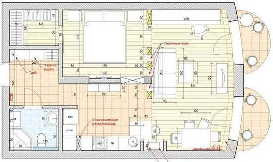 Перепланировка 1 комнатной квартиры площадью 50 кв.м.