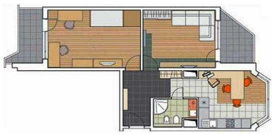 Дизайн 2-х комнатной квартиры серии П-44Т