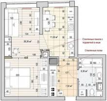 перепланировка квартир в москве, 1-комнатная квартира