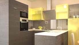 Желтый цвет в интерьере кухне в квартире, Подольск