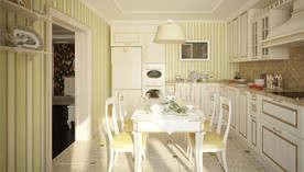 Обои в полоску в интерьере классической кухни, ЖК Скай Форт