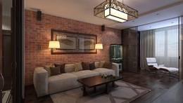 Кирпичная стена в интерьере гостиной, квартира в Царицыно