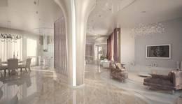3D-панели в интерьере гостиной в таунхаусе, Покровский