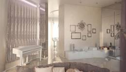 Пузырьковые панели в роли перегородки в интерьере гостиной таунхауса