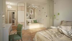 Дизайн комнаты в однокомнатной квартире, м. Коломенская