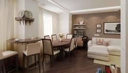 Дизайн гостиной-столовой в темной цветовой гамме