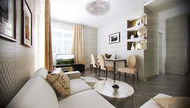 Дизайн-гостиной-столовой с темным полом