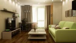 Интерьер маленькой гостиной в зеленом цвете