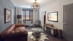 Интерьер маленькой гостиной в стиле лофт
