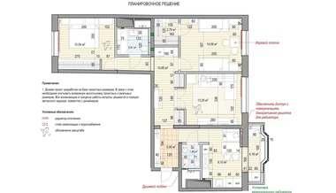Перепланировка трехкомнатной квартиры, Нагатинская набережная