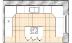 Планировка Г-образной кухни
