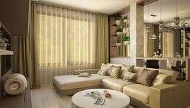 Салатовый цвет в интерьере гостиной, таунхаус в Павлово