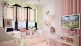 Розовые обои в интерьере детской, таунхаус, Павлово