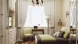 Дизайн спальни 12 кв.м с эркером