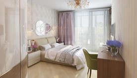 Сиреневый цвет в интерьере спальни, Реутов