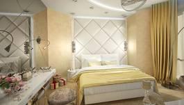 Кожаные и текстильные панели в интерьере спальни, таунхаус в Покровском